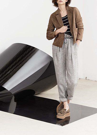 PREMIUM - Льняные брюки с завышенной талией