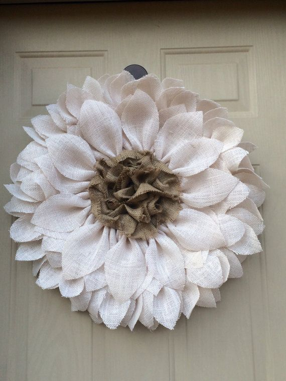 White Burlap Sunflower Wreath by ValsShabbyShack on Etsy