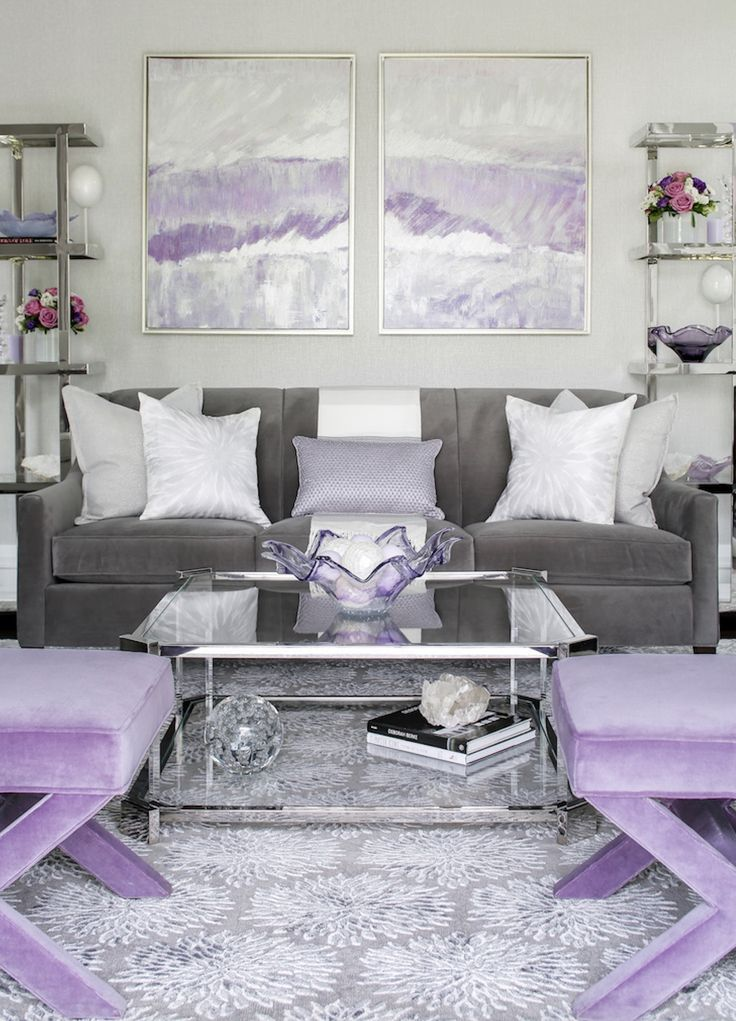 Lavendar And Gray Glam Lavender Grey Livingroom Lavendar Lavender Livingroom Genel Purple Living Room Lavender Living Rooms Silver Living Room