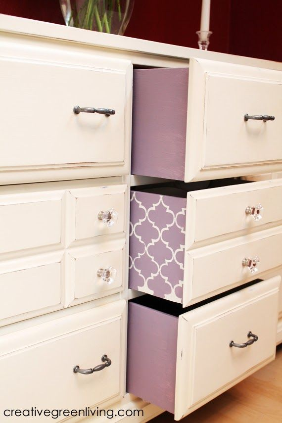 How to turn an old dresser into a fancy sideboard with chalk paint. I love the pop of color inside the drawers!