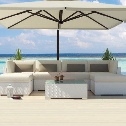 Amazon.com: Uduka Outdoor Sectional Patio Furniture White Wicker Sofa Set Diani Off White All Weather Couch: Patio, Lawn & Garden