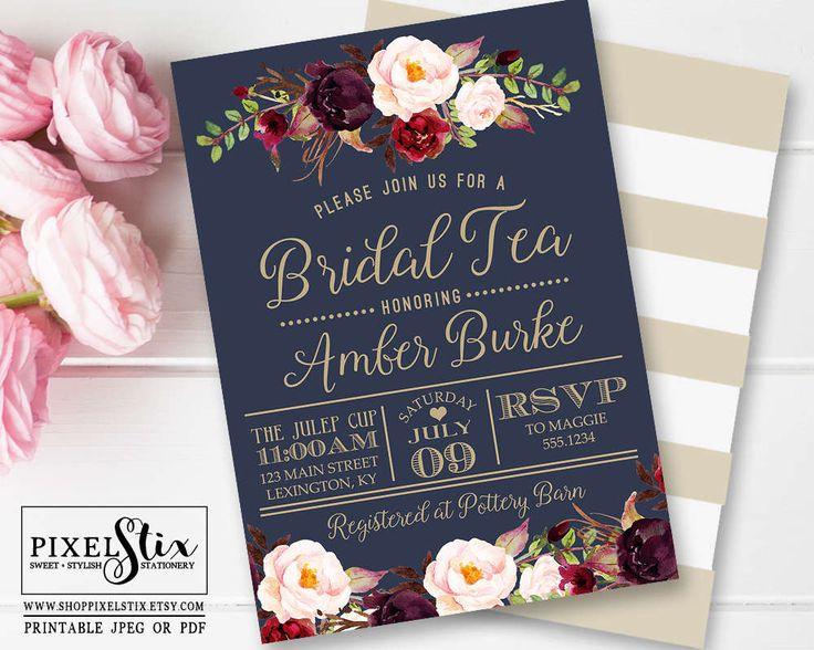 Navy Blue Bridal Tea Invitation, Vintage Rose and Peony Bridal Shower Invite, Elegant Dark Gold Stripes, Marsala and Cranberry, Dusty Blush by shopPIXELSTIX on Etsy