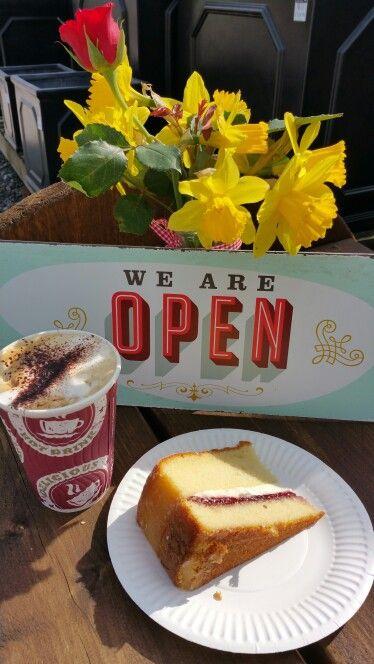 Victoria sponge cake and cappuccino