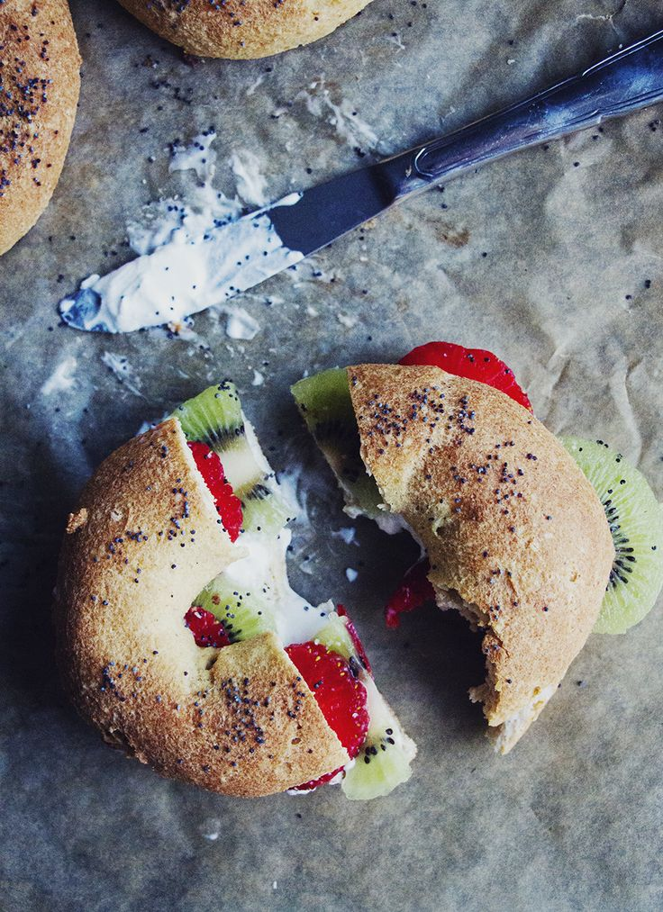 bagels, cream cheese, and fruit