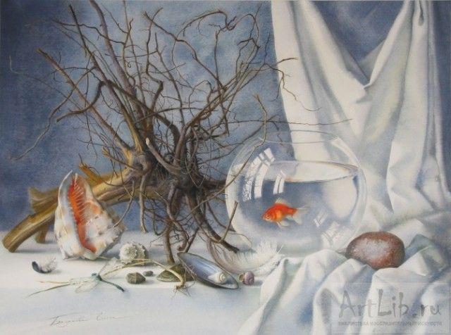 Художница Елена Базанова - Натюрморт с золотой рыбкой