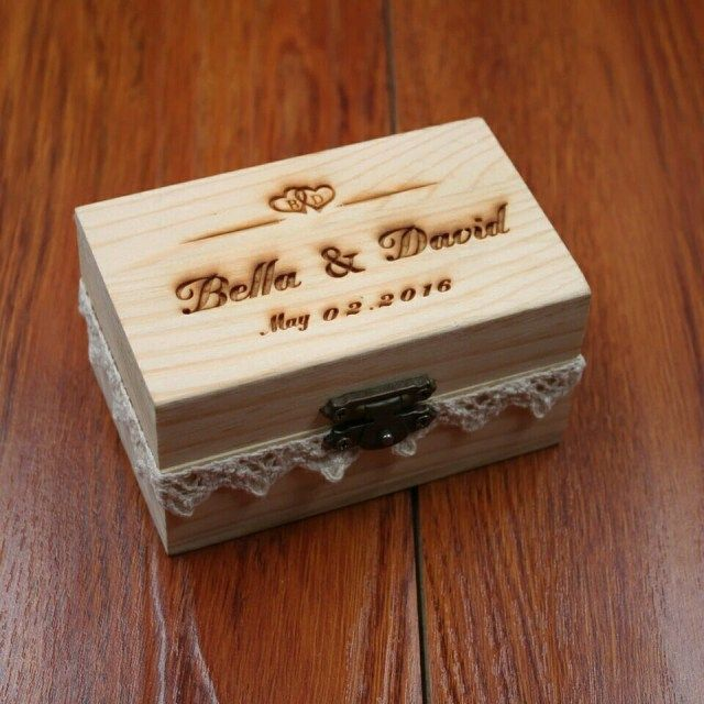 Jewelry Box Wood Red Ring Bearers Box Eco-Friendly Gift Rustic Wedding Vintage Wedding Up-Cycled Home Decor READY TO SHIP