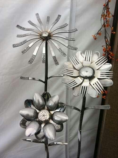 Garden Art made from silverware