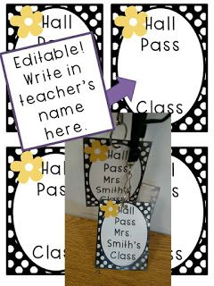 Editable Hall Pass FREE Black and White Polka Dot