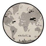 Kinderteppich und Spielteppich, rund,  the world , Durchmesser 135 cm, Baumwolle, schwarz weiß, OYOY