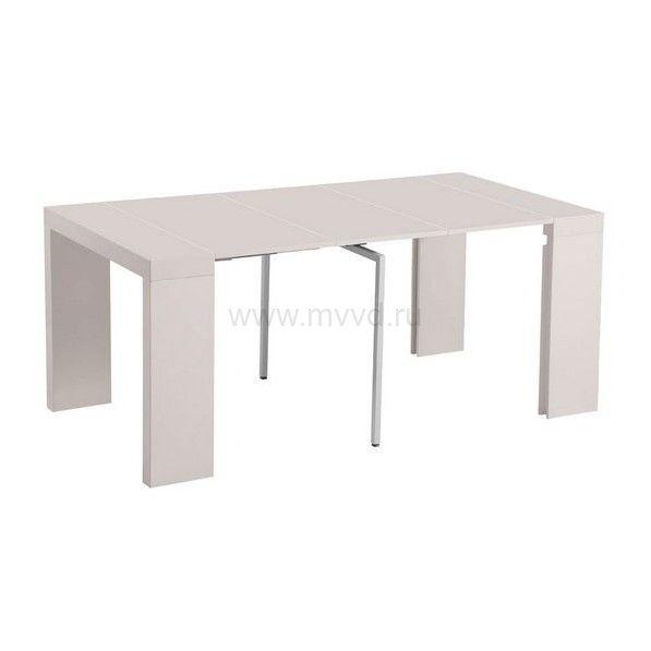 Стол консоль N110 белый глянец или бежевый трансформер раздвижной
