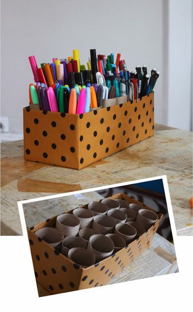 toilet paper rolls, shoe box & wrapping paper = organized pens, markets, etc...  For syd...perfect