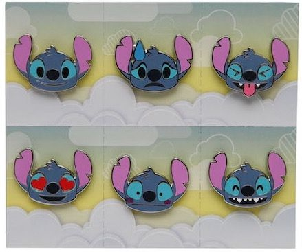 Here is a look at the Stitch Emoji Disney Pin Set released at Disney Parks! This set features six different pins for $29.99.