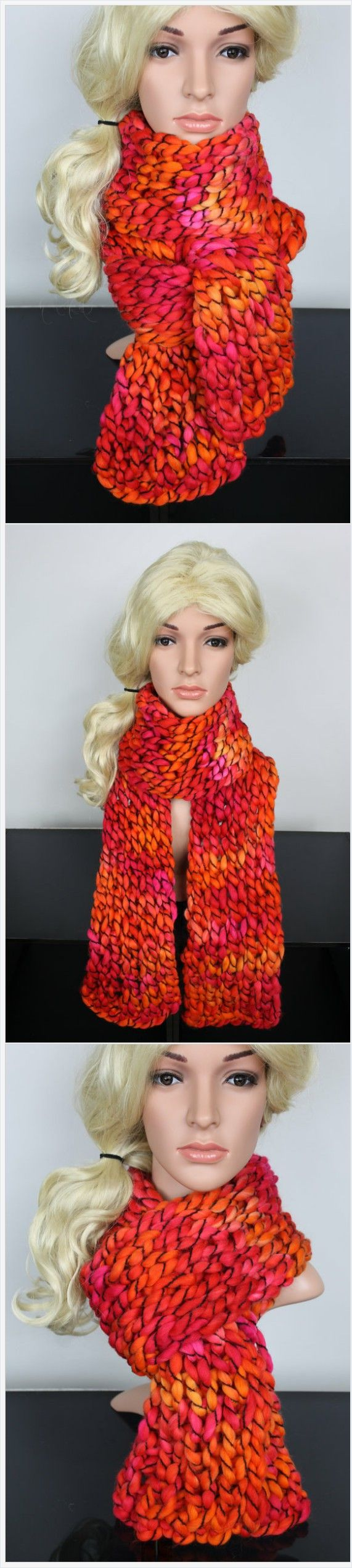 Long Chunky Knit Scarf handmade by Locotrends using finger knitting technique. It is a fantastic Winter women accessory. Perfect gift for her birthday, gift for wife, gift for a girlfriend, gift for mom or simply gift for a women who loves wearing trendy fashion accessories. Multicolored shades of the yarn create unique experience and therefore no two scarves can ever be the same. You can be sure you will get one of a kind scarf! Save it now!
