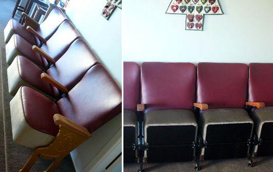 Cinema seats, rejuvenated in contrasting vinyl - Living Room, Wellington