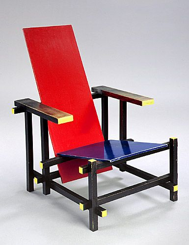 "Gerrit Reitveld, ""Red and Blue Chair"", 1917.  One of the first explorations by the De Stijl art movement in three dimensions.  Located at the Museum of Modern Art, New York, New York."