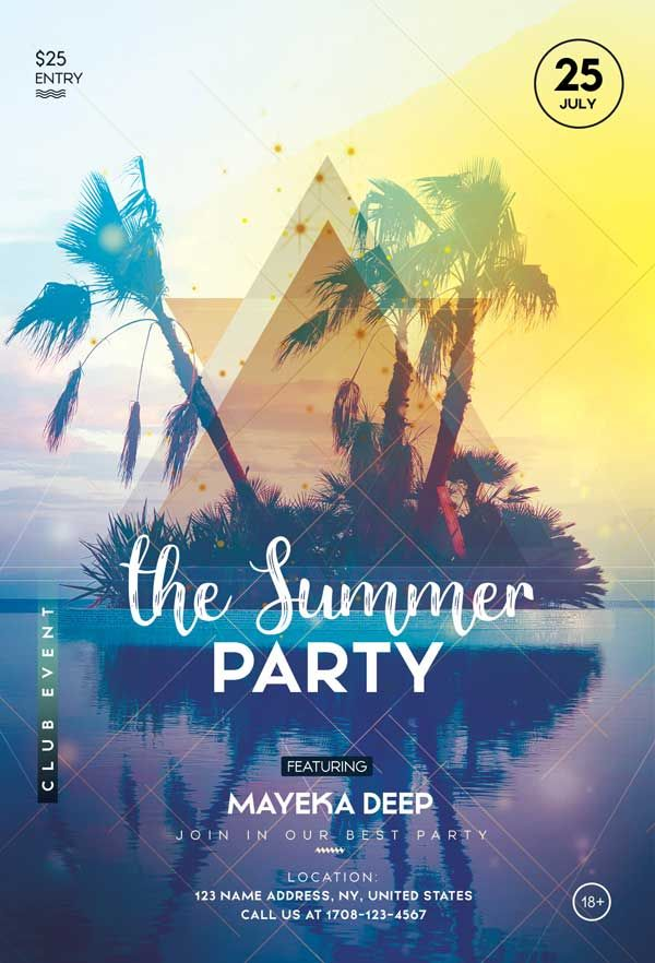 Summer Party Free Club Flyer Template Pool Parties Flyer Free