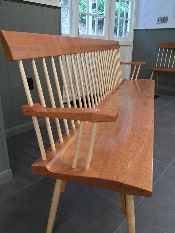 Cherry And Ash Spindle Back Bench Dining Room Entry Way Table Windsor B
