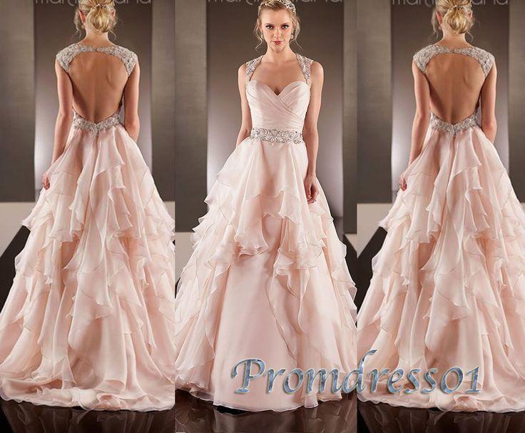 2015 prom dresses by #promdress01, pink rhinestone layered V-neck open back chiffon long prom dress for teens, ball gown, evening dress, wedding dress #promdress