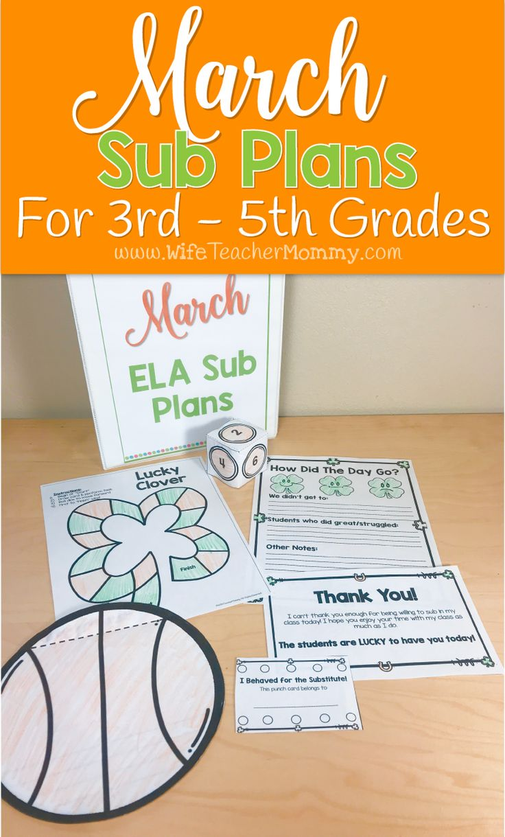 March sub plans for 3rd grade, 4th, grade, and 5th grade! These upper elementary sub plans are print-and-go! Everything you need for the sub is included, from lesson plans to worksheets and notes! Themes in the activities include: St. Patrick's Day, basketball, International Women's Day, first day of spring, leprechauns, shamrocks, pot of gold, and more! These sub plans are perfect for your 3rd grade classroom, 4th grade classroom, or 5th grade classroom. March sub plans. #subplans