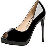 #5: Peep Toe Mujer Zapatos de tacón De BIGTREE Charol Plataforma Zapatos de tacón Boda Tacones altos