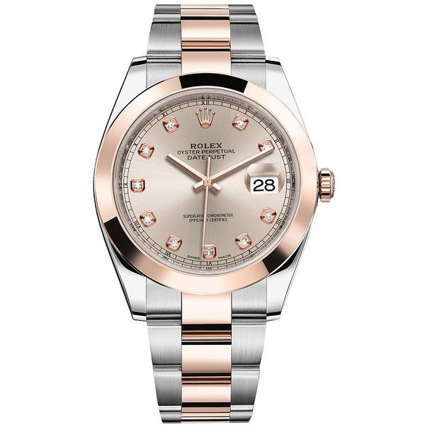 Rolex Datejust 41mm Steel and Everose Gold 126301 Sundust Diamond... (49.795 RON) ❤ liked on Polyvore featuring men's fashion, men's jewelry, men's watches, stainless steel, mens gold diamond watches, mens gold watches, mens diamond watches, rolex mens watches and mens stainless steel watches