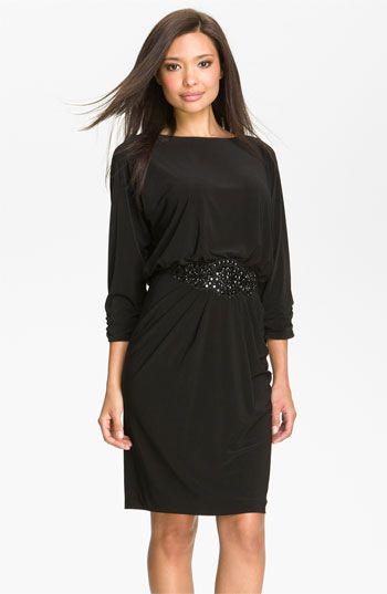 Alex Evenings Beaded Waist Jersey Blouson Dress available at #Nordstrom