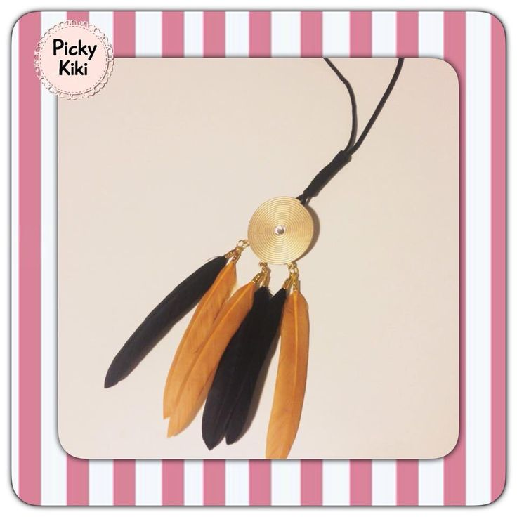 Handmade long necklace with black suede cord, gold element with Swarovski rhinestones and feathers in beige and black color | Fall-Winter Collection 2015-'16 | Picky Kiki
