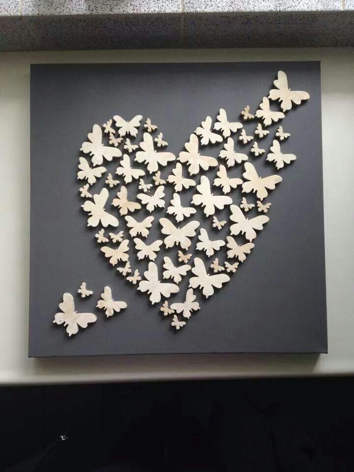 canvas - heart - butterflies