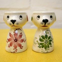Pair of vintage dog egg cups, vintageactually.co.uk