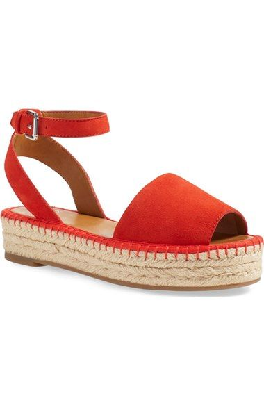 SARTO by Franco Sarto 'Ravenna' Ankle Strap Flat Espadrille Sandal suede red, bright blue; leather black, cuoio 3.5sh 1.5h sz7.5 118.95 3/16