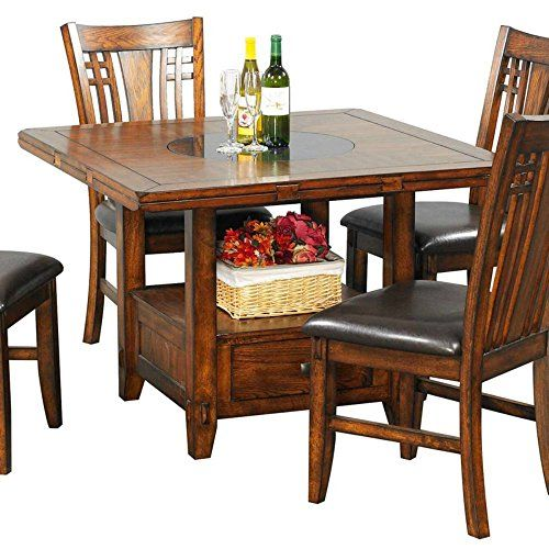 Winners Only Zahara Square Dining Table With Granite Lazy Susan | Best Furniture  Review