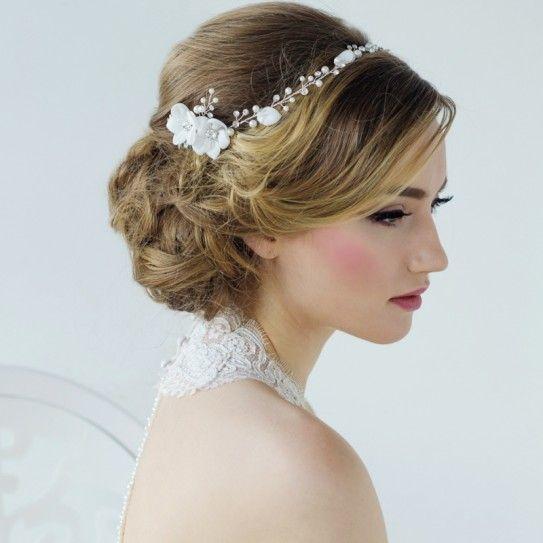 Couronne De Fleurs Perles Cristaux Headband Bijoux De Tête Coiffure Mariée Chignon Mariage G Bridal Floral Headpiece Hair Vine Wedding Bridal Hair Vine