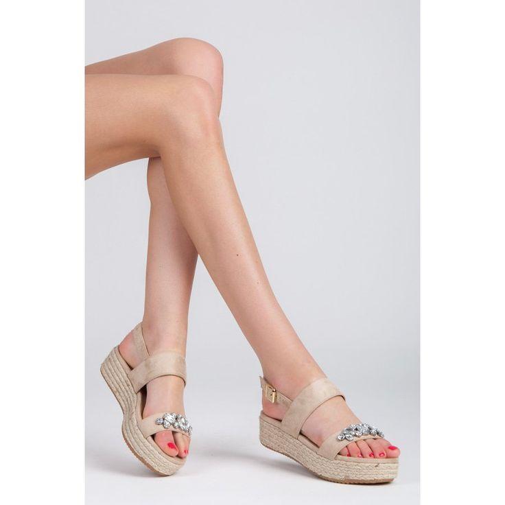 Sandále espadrilky s kamienkami 8133-14BE