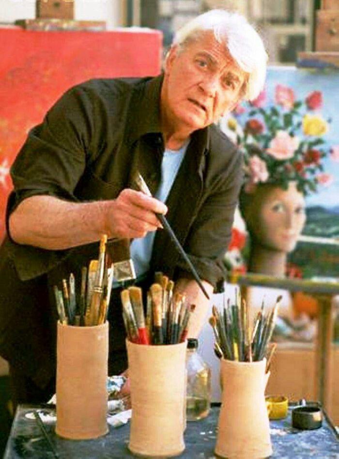 Jean Marais avec le portrait de Gisèle Touret ///////// With Gisèle Touret 's painting