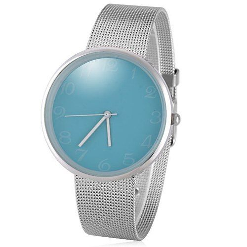 Quartz Watch with Analog Indicate and Steel Mesh Strap