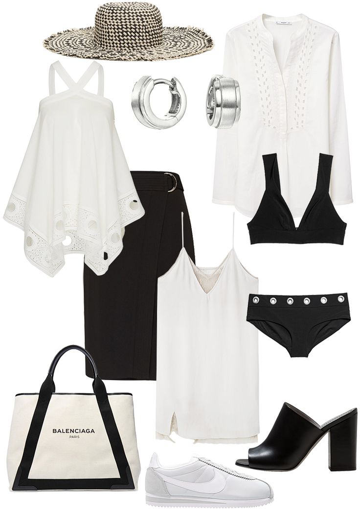 Sunday's Cravings: Black & White Summer. Straw Hat - & Other Stories, Top - EDITED the Label, Earrrings - Esprit, Blouse - Mango, Wrap skirt - EDITED the Label, Slip dress - Mango, Bikini top - & Other Stories, Bikini bottom - & Other Stories, Cabas tote bag - Balenciaga, Mules - Aeyde, Cortez Sneaker - Nike - teetharejade.com