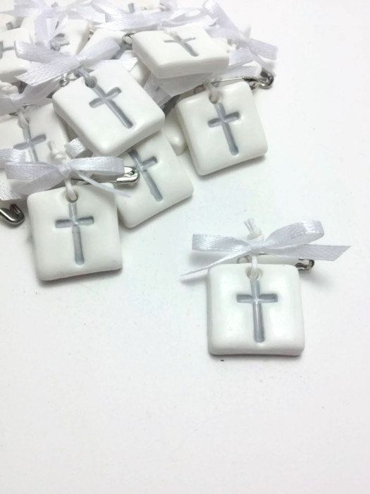 Witness Pins, Variety Of Colors, Baptism Favors, Baptism Decor, Communion Guest Gifts, Baptism Pendants, Clay Cross Tags, Martyrika