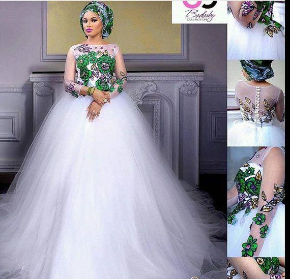 African wedding gown Ankara wedding dress handmade by ElpiscreationsNG