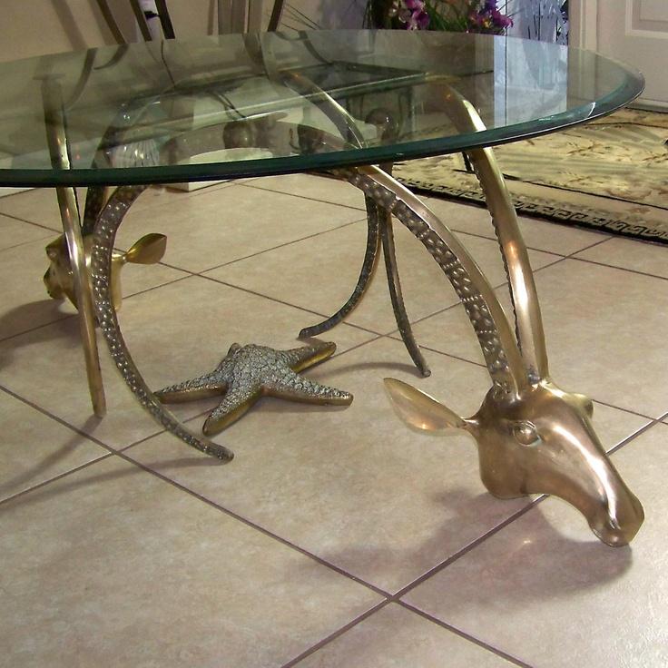 Vintage Brass Gazelle Rams Head Coffee/occasional Table