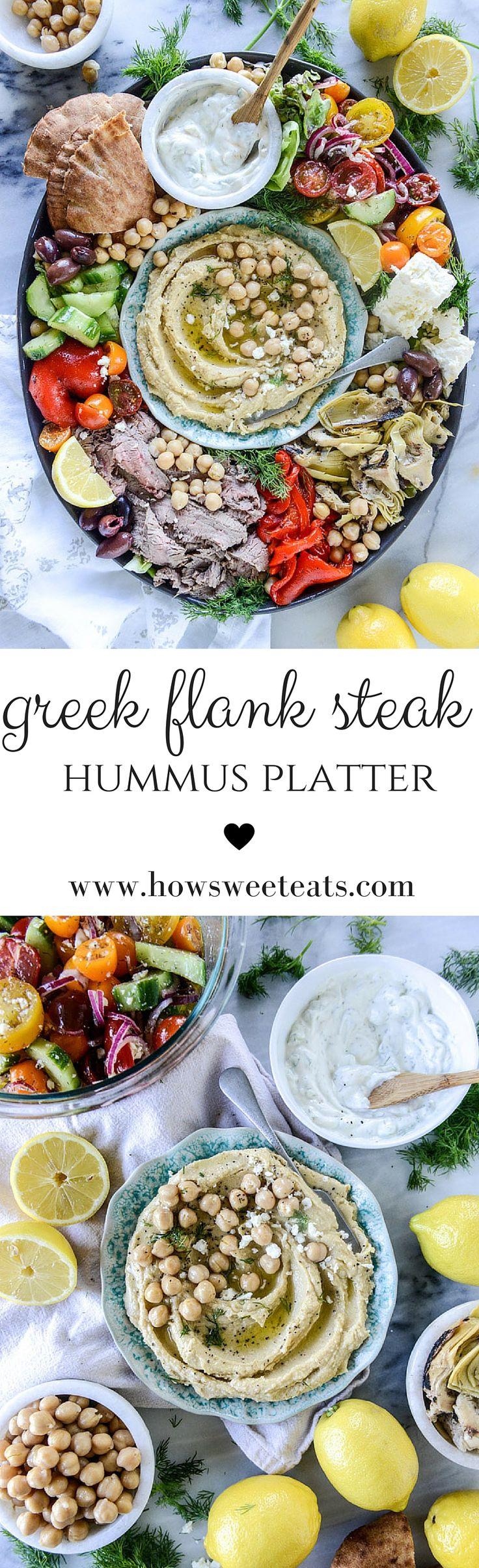 marinated greek flank steak hummus platter by @howsweeteats I howsweeteats.com