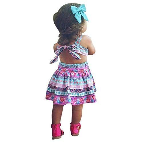 37af3bc20 Vestido Niña, K-youth® Verano Bohemia Bowknot Chicas Retro Floral ...