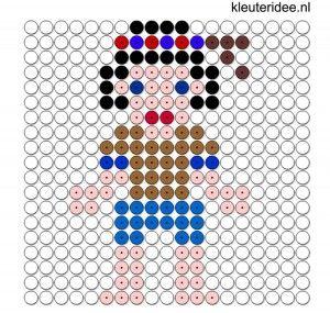 indianenjongen klein kralenplank voor kleuters, kleuteridee.nl, beads pattern preschool, free printable
