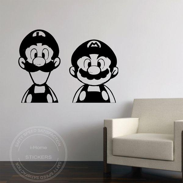 vinyl kunst aan de muur sticker- super mario en luigi voor baby natuur muur papier muurstickers grote omvang 56x48cm(China (Mainland))