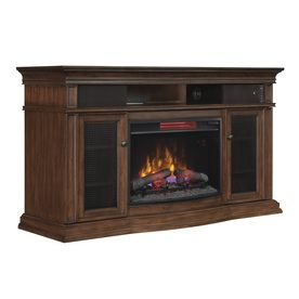 Style Selections 59 In W 5 200 Btu Walnut Wood Infrared Quartz Electric Fireplace With