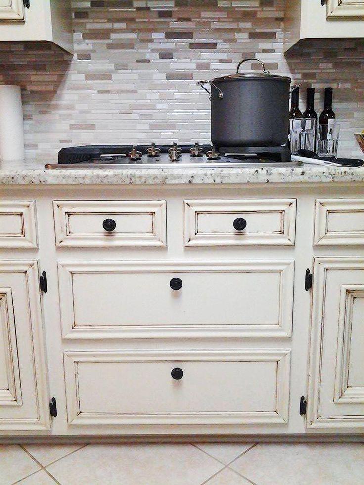 Antique white kitchen makeover general finishes for Antique white finish kitchen cabinets