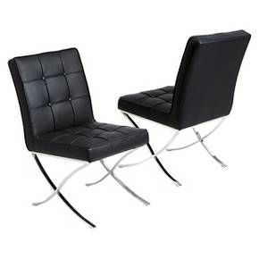 Milania Black Leather Dining Chairs - Black (Set of 2) - Christopher Knight Home