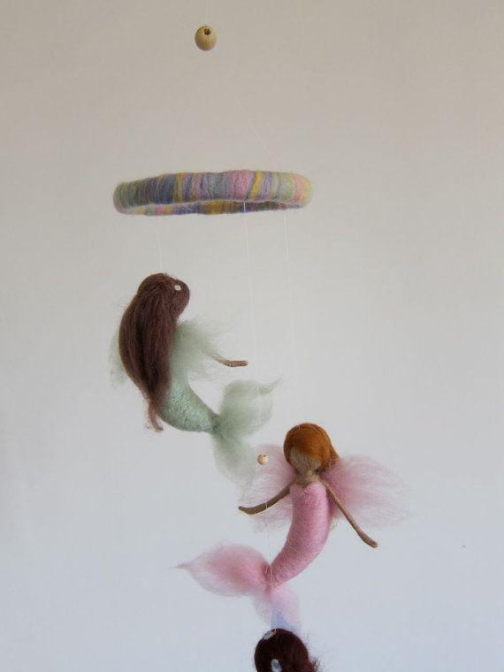 Needle Felted Mermaid Mobile, Rainbow-Mermaid, Guardian Angel- Girls birthday present, Hanging art-Waldorf,Needle felted by FeltandGrain on Etsy, $85.00