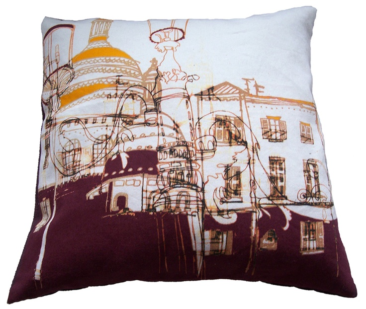 Image of Streets of Montmartre Purple Cushion