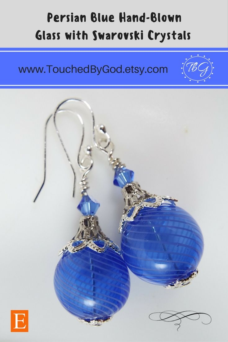 #Earrings #Jewelry #Handcrafted ~ #Hand #Blown #Glass Round Beads in #Persian #Blue with Stripes ~ #Sterling #Silver #Plate Findings ~ #Gift for Her ~ For ladies who want jewelry that's as fabulous as they are, Touched By God's jewelry is a fresh alternative to generic, mass made pieces. Timeless and classic, this piece is an all around everyday staple that makes an excellent gift for any of the wonderful women in your life! Visit my shop at www.TouchedByGod.etsy.com!