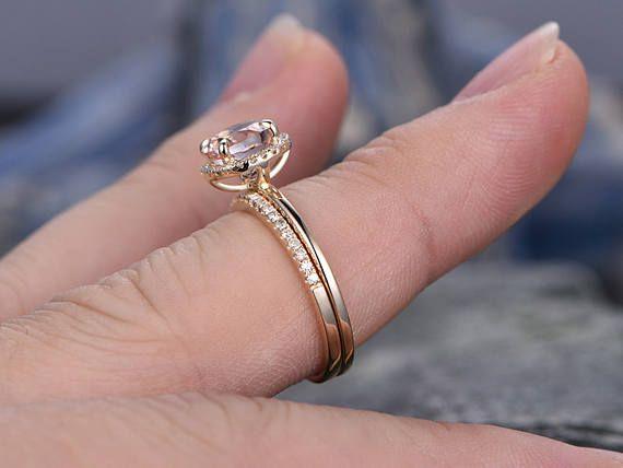 7mm ronde Morganite verlovingsring-Solid 14k Rose gold ring